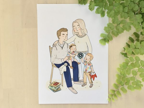 Custom family portraits created by illustrator @karacandraw